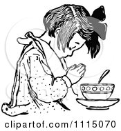 Clipart Vintage Black And White Girl Praying Before Eating 1 Royalty Free Vector Illustration
