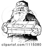 Clipart Vintage Black And White Santa Carrying A Gift Royalty Free Vector Illustration