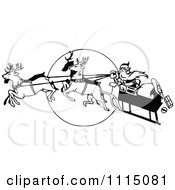 Clipart Vintage Black And White Flying Reindeer Leading Santas Sleigh Over A Full Moon Royalty Free Vector Illustration