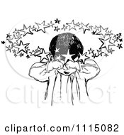 Clipart Vintage Black And White Sleepy Girl Rubbing Her Eyes Royalty Free Vector Illustration