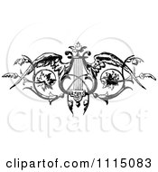 Clipart Vintage Black And White Winged Harp Or Lyre Royalty Free Vector Illustration