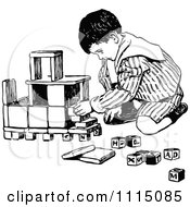 Clipart Vintage Black And White Boy Playing With Building Blocks Royalty Free Vector Illustration