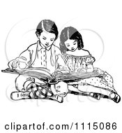 Clipart Vintage Black And White Brother And Sister Reading A Book Royalty Free Vector Illustration