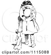 Clipart Vintage Black And White Girl Dragging Her Doll Royalty Free Vector Illustration by Prawny Vintage