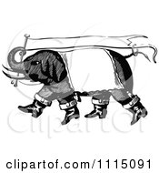 Clipart Vintage Black And White Circus Elephant Carrying A Banner Flag Royalty Free Vector Illustration by Prawny Vintage #COLLC1115091-0178