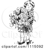 Clipart Vintage Black And White Girl With A Huge Bouquet Of Flowers Royalty Free Vector Illustration