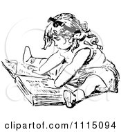 Clipart Vintage Black And White Girl Reading A Book 1 Royalty Free Vector Illustration