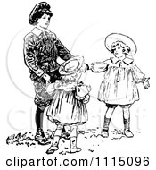 Clipart Vintage Black And White Brother Playing With His Sisters Royalty Free Vector Illustration by Prawny Vintage