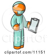 Orange Surgeon Man In Green Scrubs Holding A Clipboard