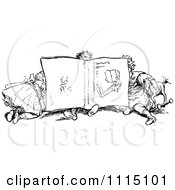Clipart Vintage Black And White Children Reading A Book Together Royalty Free Vector Illustration