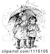 Vintage Black And White Girl And Boy Sharing An Umbrella
