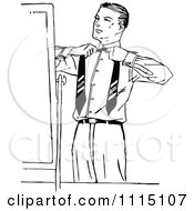 Clipart Vintage Black And White Putting On A Tie Royalty Free Vector Illustration