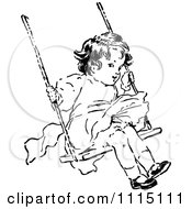 Clipart Vintage Black And White Girl Swinging Royalty Free Vector Illustration