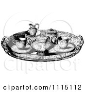 Clipart Vintage Black And White Tea Service Tray Royalty Free Vector Illustration by Prawny Vintage
