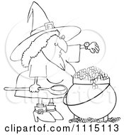 Clipart Outlined Witch Checking Her Watch While Making A Spell In Her Cauldron Royalty Free Vector Illustration