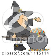Witch Checking Her Watch While Making A Spell In Her Cauldron