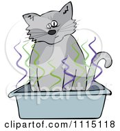 Clipart Cat Using A Stinky Kitty Litter Box Royalty Free Vector Illustration by djart