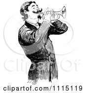 Clipart Vintage Black And White Man Playing A Trumpet Royalty Free Vector Illustration