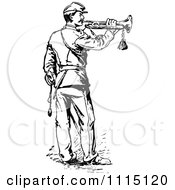 Clipart Vintage Black And White Soldier Playing A Trumpet Royalty Free Vector Illustration by Prawny Vintage