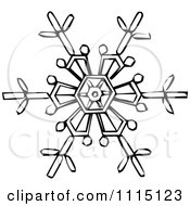 Clipart Vintage Black And White Snowflake 3 Royalty Free Vector Illustration by Prawny Vintage