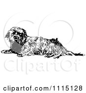 Clipart Vintage Black And White Terrier Dog 3 Royalty Free Vector Illustration