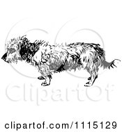 Clipart Vintage Black And White Terrier Dog 4 Royalty Free Vector Illustration
