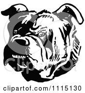 Clipart Vintage Black And White Tough Bulldog Royalty Free Vector Illustration