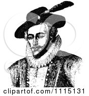 Clipart Vintage Black And White Portrait Of Sir Walter Raleigh Royalty Free Vector Illustration