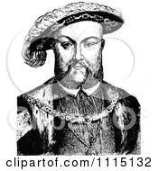 Clipart Vintage Black And White Portrait Of Henry VIII Royalty Free Vector Illustration by Prawny Vintage