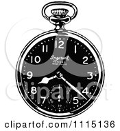 Clipart Vintage Black And White Pocket Watch 2 Royalty Free Vector Illustration