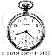 Clipart Vintage Black And White Pocket Watch 3 Royalty Free Vector Illustration