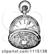 Clipart Vintage Black And White Pocket Watch 4 Royalty Free Vector Illustration