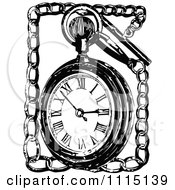 Clipart Vintage Black And White Pocket Watch And Chain Royalty Free Vector Illustration