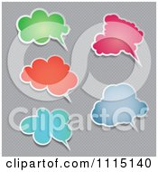 Colorful Speech Balloons With Shadows On Gray Polka Dots