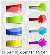 Clipart Colorful Tab And Burst Labels On Gray Royalty Free Vector Illustration