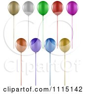 Clipart 3d Colorful Party Balloons And Ribbons Royalty Free Vector Illustration