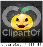 Clipart Halloween Background Of A Jackolantern With Bats On Gray Grunge Royalty Free Vector Illustration