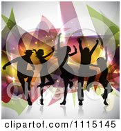 Clipart Silhouetted Dancers Grooving Over Abstract Shapes And Sparkles Royalty Free Vector Illustration
