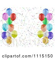 Party Background Of Colorful Party Balloons And Confetti On White