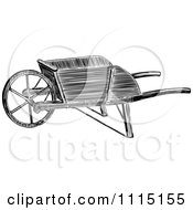 Clipart Vintage Black And White Wooden Wheelbarrow Royalty Free Vector Illustration