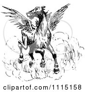Clipart Vintage Black And White Spooked Winged Horse Royalty Free Vector Illustration by Prawny Vintage