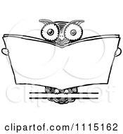 Clipart Vintage Black And White Wise Owl Reading Royalty Free Vector Illustration