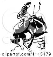Poster, Art Print Of Vintage Black And White Rodeo Cowboy On A Bucking Horse