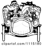 Clipart Vintage Black And White Santa Driving A Car Royalty Free Vector Illustration