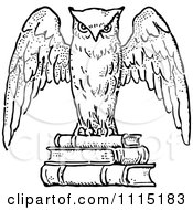 Clipart Vintage Black And White Wise Owl On Books Royalty Free Vector Illustration by Prawny Vintage