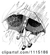 Clipart Vintage Black And White Boy Under An Umbrella In A Rain Storm Royalty Free Vector Illustration by Prawny Vintage