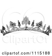 Clipart Vintage Black And White Tiara Royalty Free Vector Illustration
