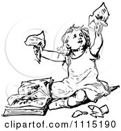 Clipart Vintage Black And White Girl Tearing Up A Book Royalty Free Vector Illustration