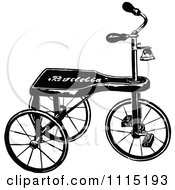 Clipart Vintage Black And White Trike Royalty Free Vector Illustration