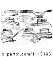 Clipart Vintage Black And White Trowel Tools Royalty Free Vector Illustration